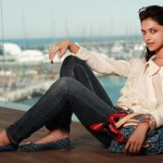 deepika padukone in denim and white shirt