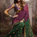 green and magenta saree
