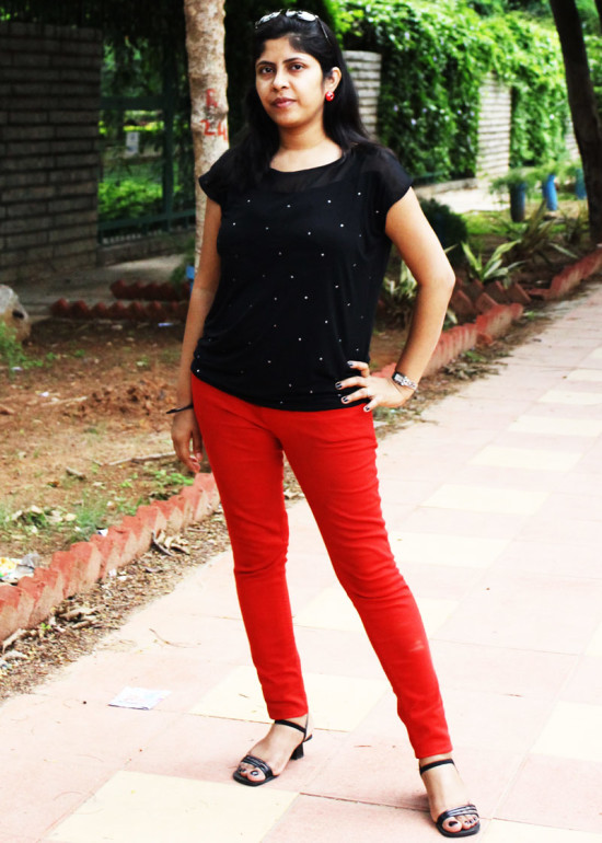 Style Book-Red Skinny Jeans with Black Top
