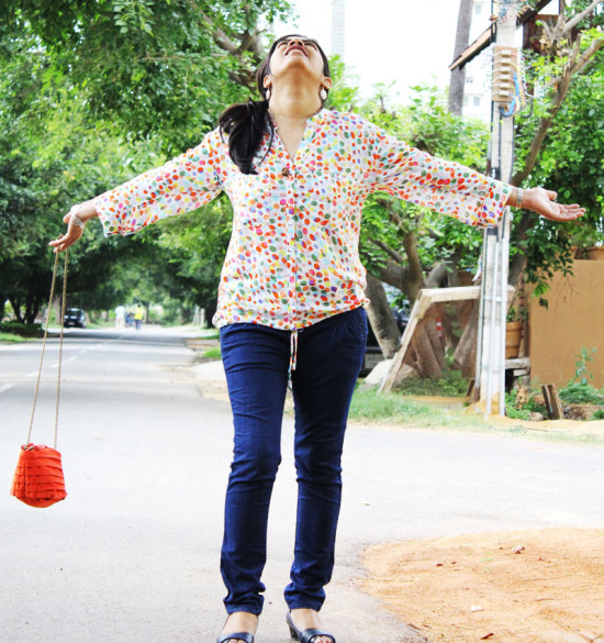 Polka Dots Shirt with Denims