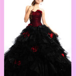 black-frill-gown-with-red-flowers