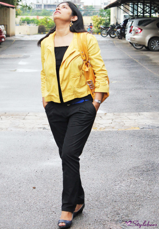 Styling in Black Outfit with Mustard Jacket