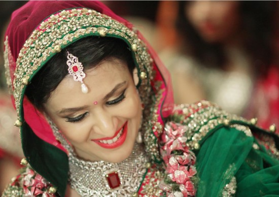 Beautiful Bride With A Gorgeous Diamond And Ruby Necklace