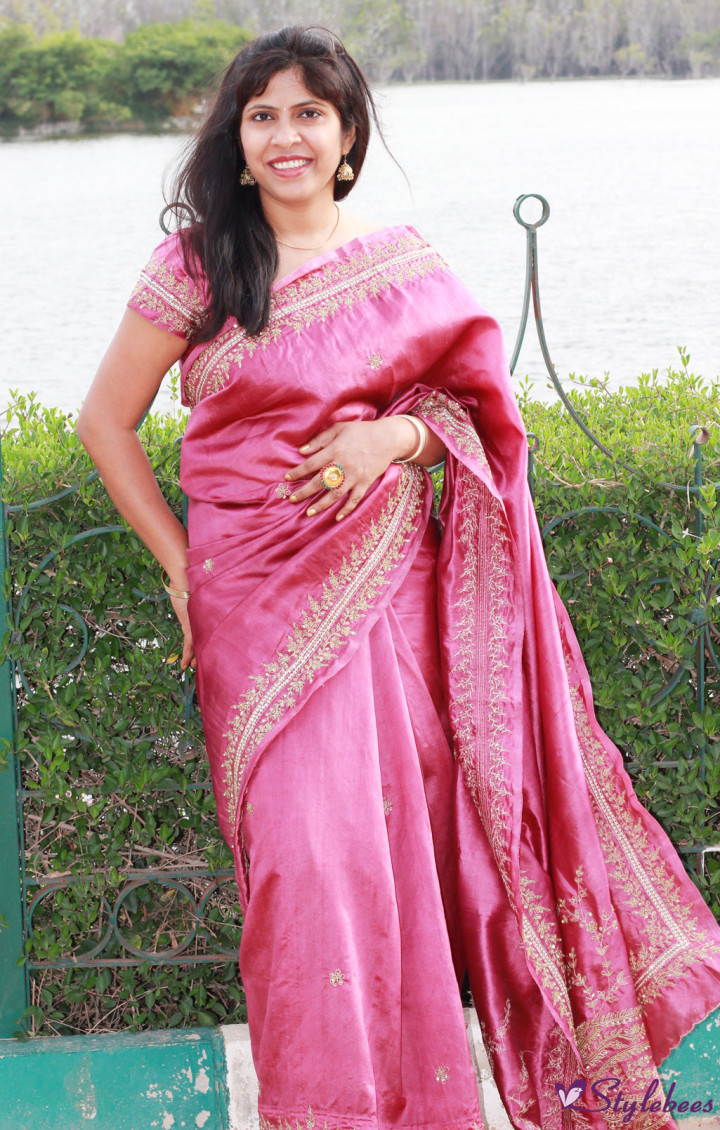 Angadi Bangalore Silk saree with zari work