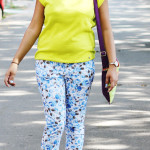 Floral pants with plain green top
