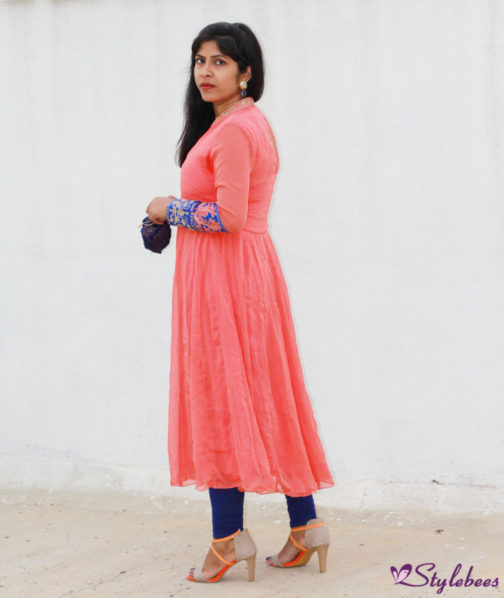 Peach and royal blue designer kurta from Mysmartprice