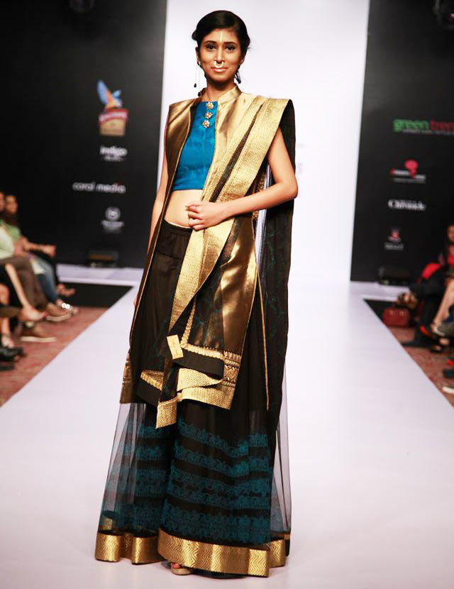 Black, golden and royal blue Alpa and Reena Lehenga at Bangalore Fashion Week 2