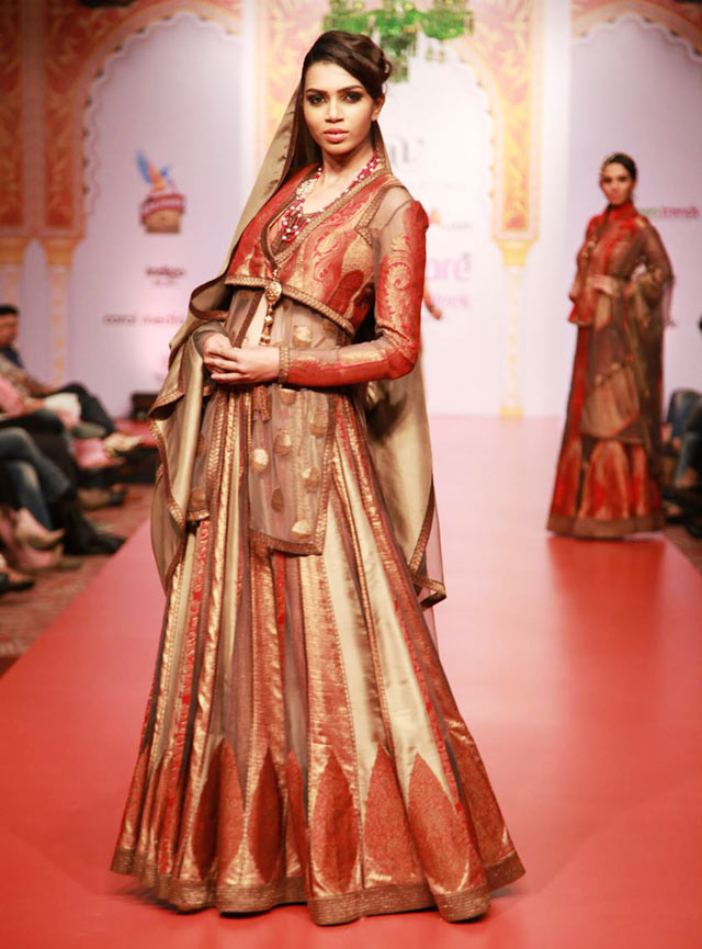 golden and maroon Ashima and Leena Lehenga at Bangalore Fashion Week