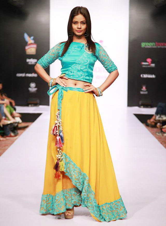 Sea green and yello Lehenga by Dreamzone at Bangalore Fashion Week 2