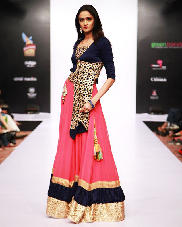 Pink and royal blue stylish Lehenga by Dreamzone at Bangalore Fashion Week