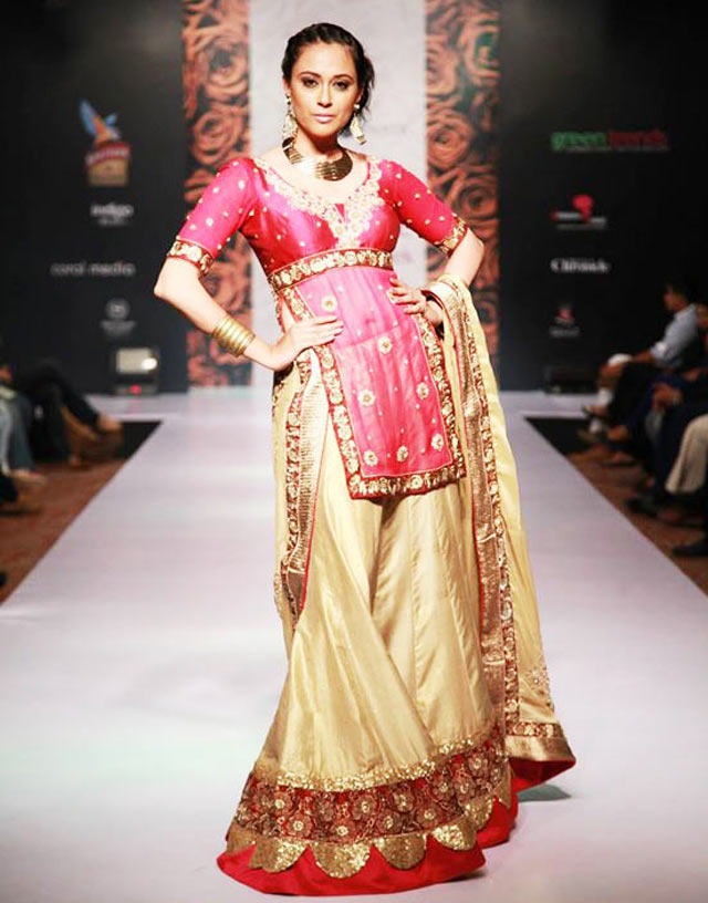 Magenta and pink lehenga by Shivani Gelera at Bangalore Fashion Week