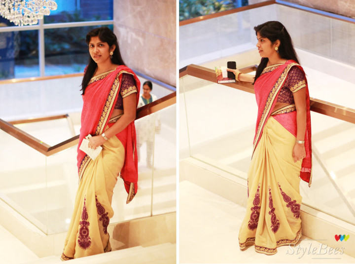 Tri color saree with embroidery in purple, pink and beige