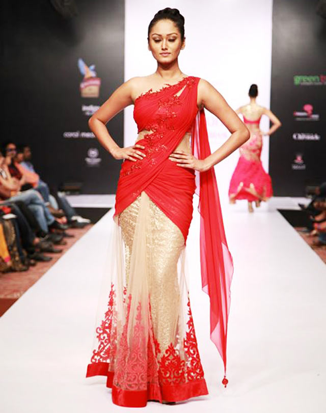 Red and golden amita gupta Lehenga at Bangalore Fashion Week