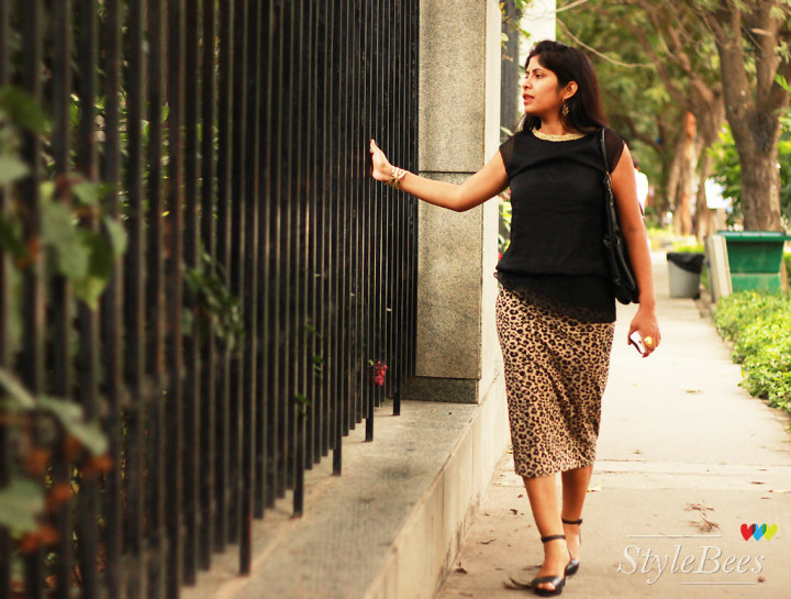 Semi formal wear in skirt and black top
