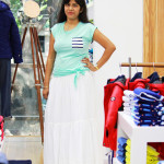 White skirt and sea green top from Nautica