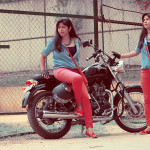 Bike fashion in red and blue denim by oxolloxo