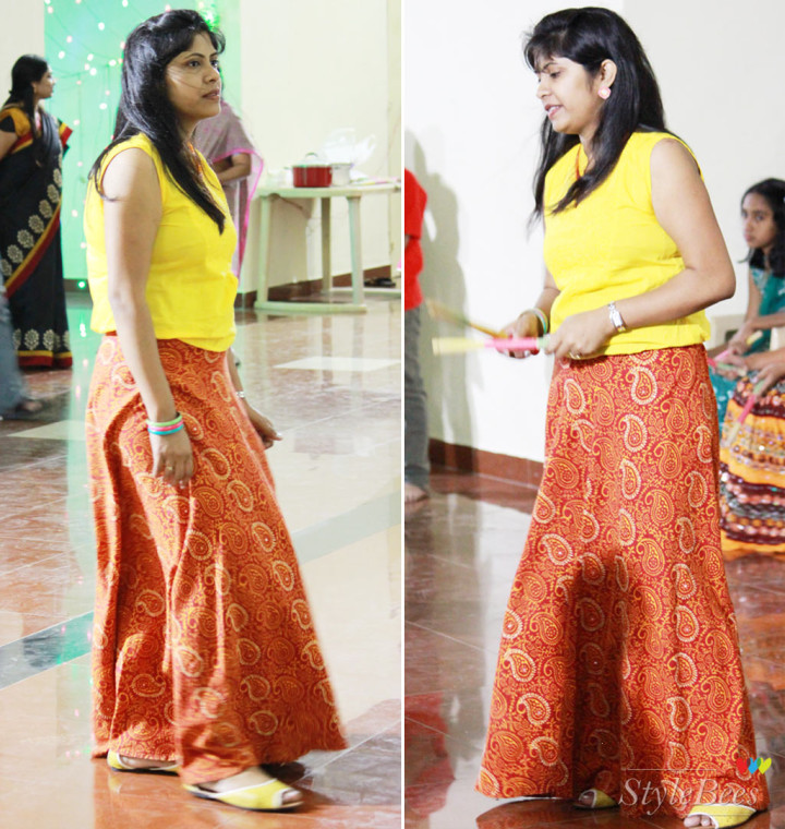 Garba Dandiya festival dressing in ghagra skirt