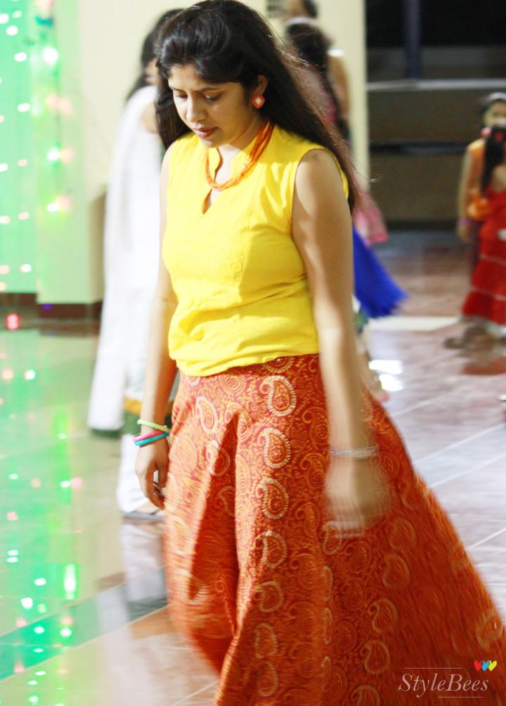 Red cotton skirt with yellow top dressing for Garba