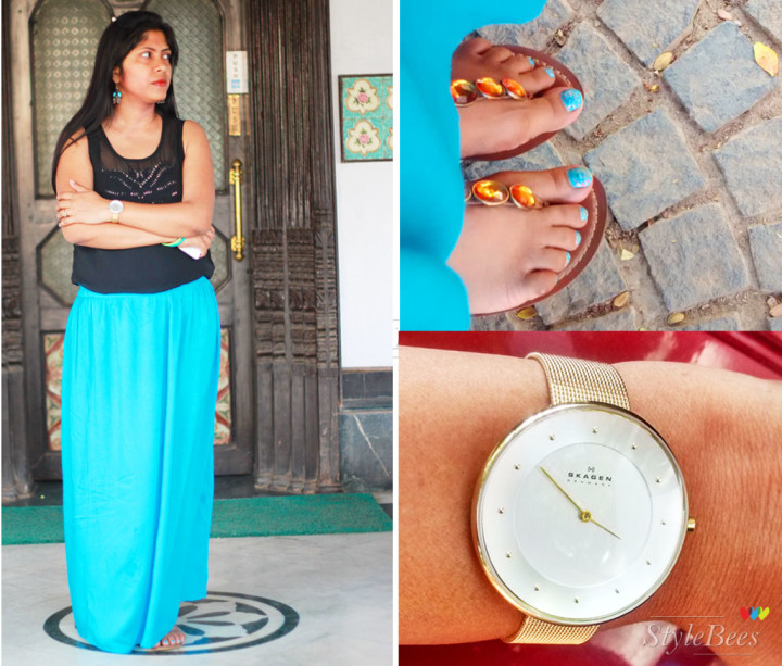 Blue skirt, clarks flat and skagen watch Style board