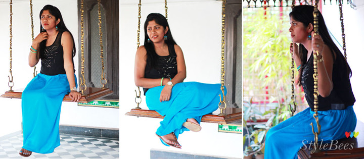 Casual styling in blue long skirt and black top