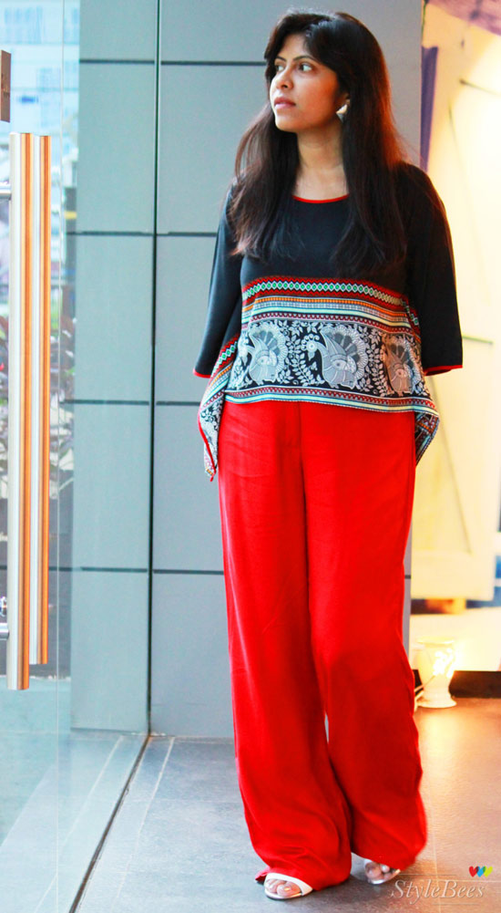Black Loose top with Red palazzo pants from Global-Desi