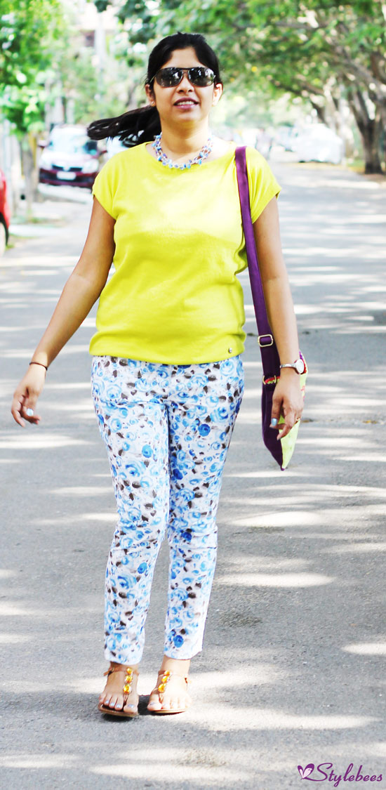 Floral pants with green loose top