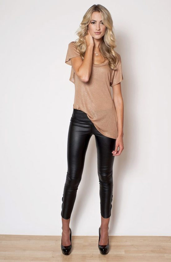 Loose top with leather pants 15