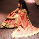 Pink bridal silk saree with golden work and border