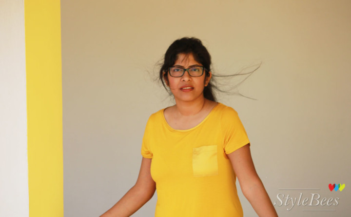 Marks & spencer yellow top with vogue eyewear