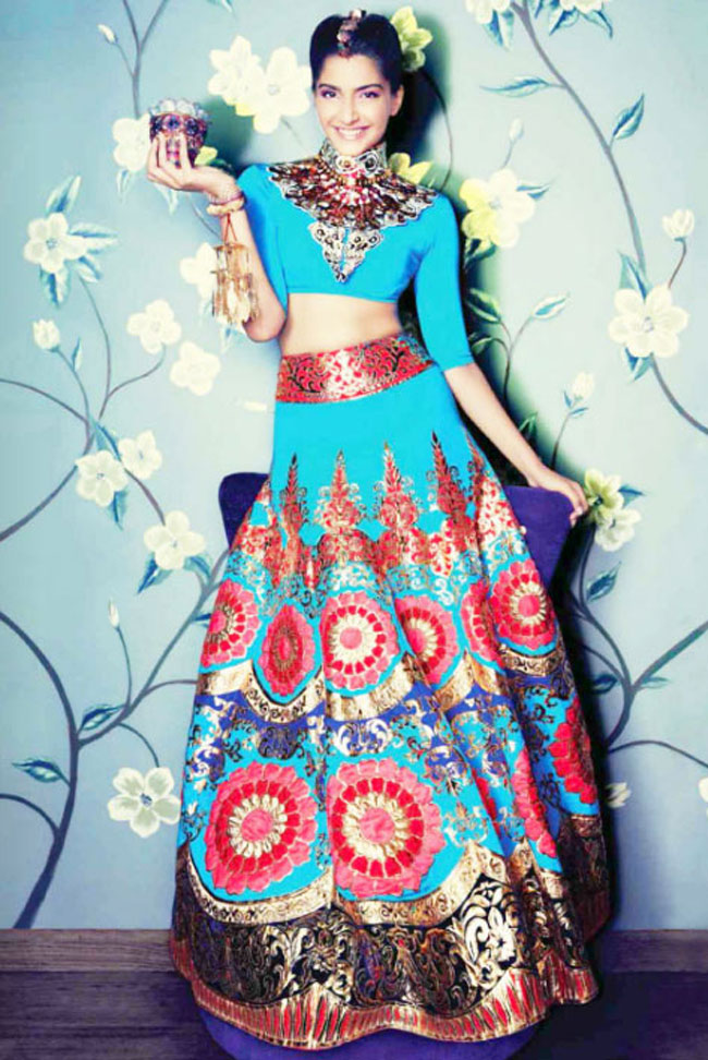 Actress Sonam Kapoor in Manish arora lehenga