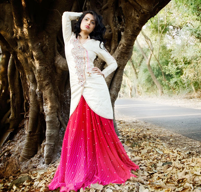 Designer lehenga choli in pink and cream color