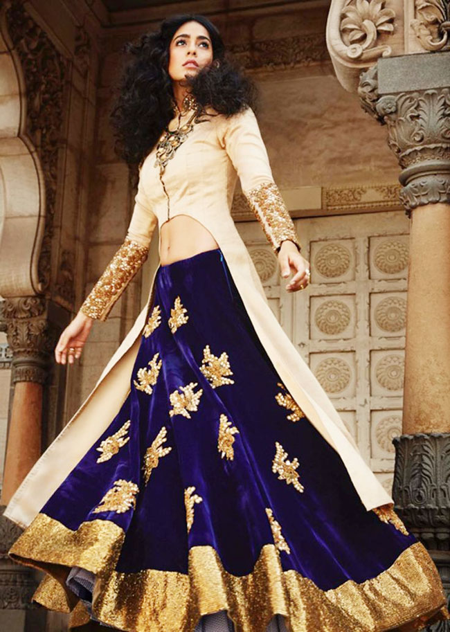 Indigo color lehenga with cream color waist coat