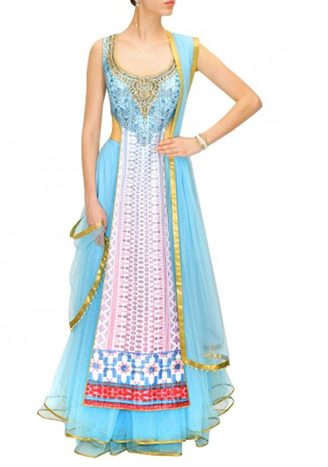 JJ Valaya Powder blue and pink digitally print embroidered lehenga set