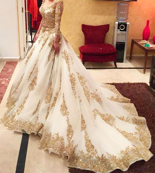 Majestic golden and cream bridal lehenga
