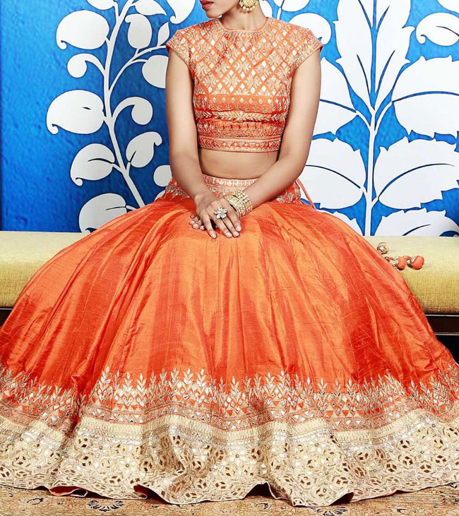 Orange lehenga blouse designs