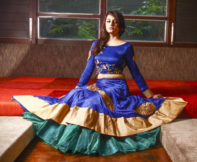 Rima and rashmi blue ghagra choli design
