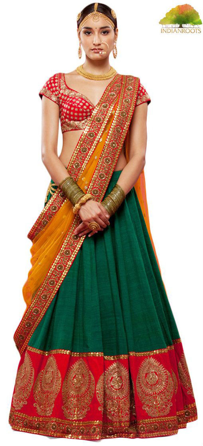 Sabyasachi green colored bridal lehenga choli 16