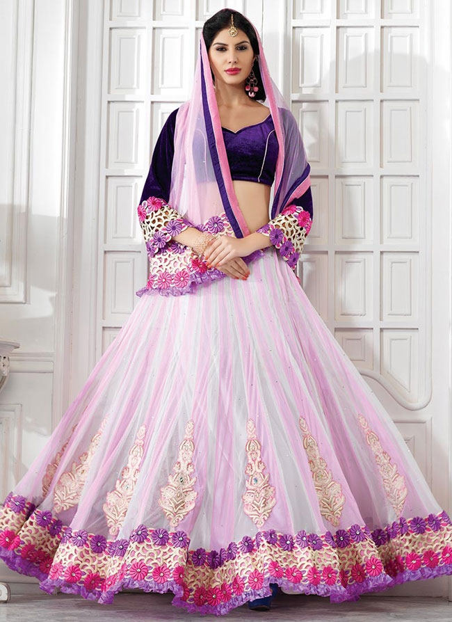fashionable-pink-off-white-net-lehenga-choli