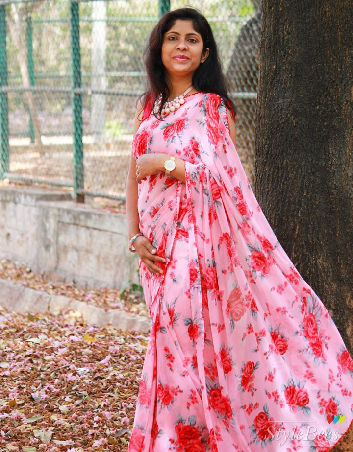 Printed chiffon saree for summer day