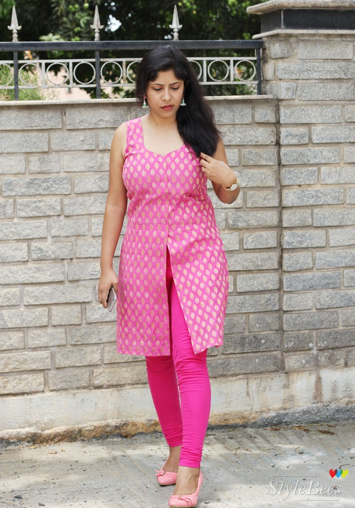 PInk long slit kurta with a pink leggings