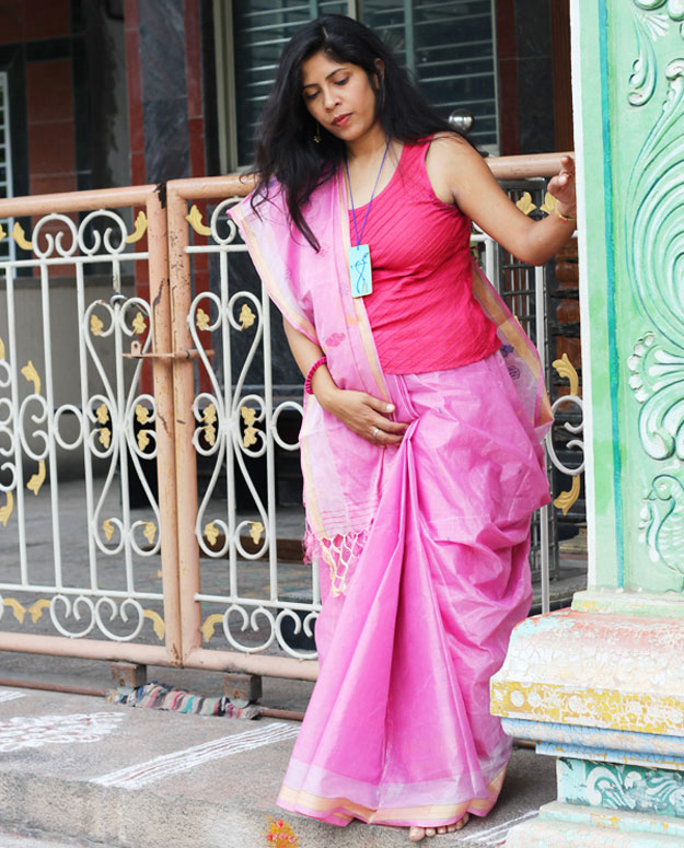 Ditched usual blouse and paired a Top with Saree