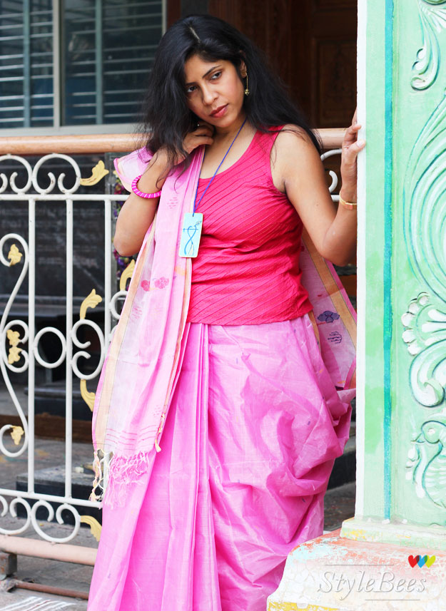 styling-a-pink-saree-with-a-top
