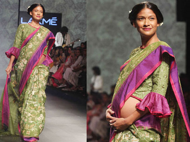 carol-gracias-in-saree-during-pregnancy-for-a-fashion-ramp-walk