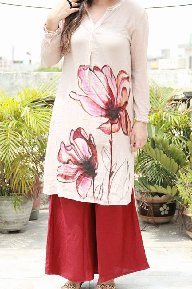 handpainted and handcrafted kurtis